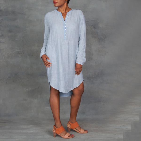 Xirena Dual Striped Gauze Sloan Dress in Mercury