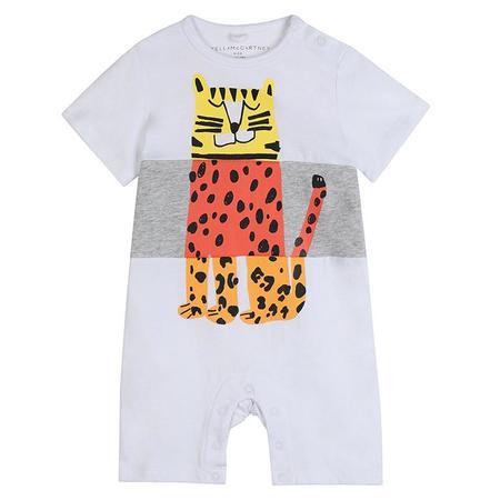 kids Stella McCartney Baby Tiger Print Jumpsuit - White
