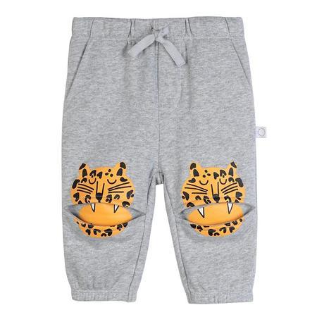 kids Stella McCartney Baby  Leopard Knee Patches Sweatpants - Grey
