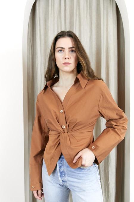Nanushka Idris Twist Front Shirt - Rust
