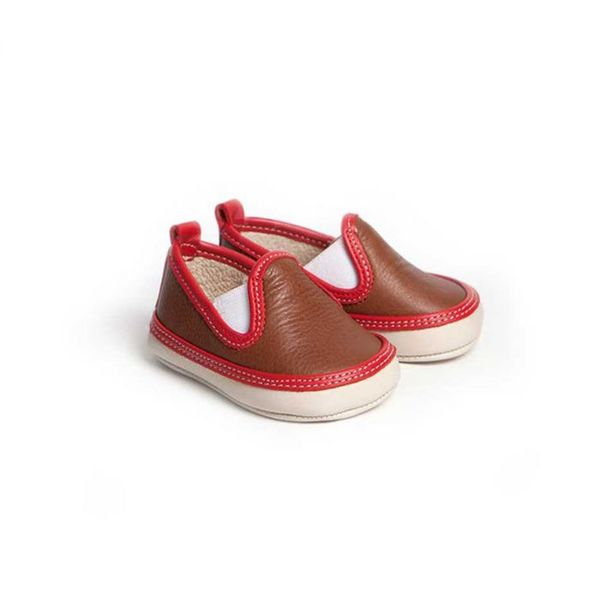 Little Lulu's Brown and Red Dexter Slip On Trainers