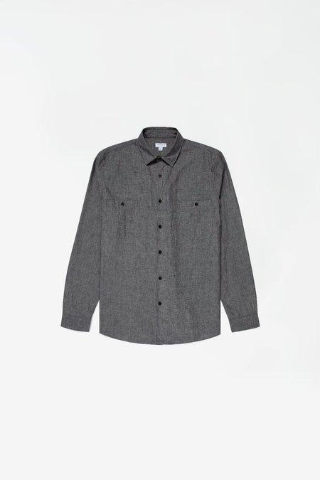 Sunspel Japanese selvedge chambray overshirt - black