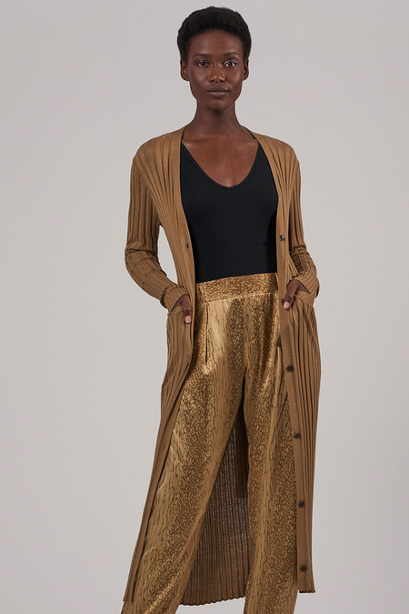 ATM Silk Wide Rib Long Cardigan Sweater - Sahara