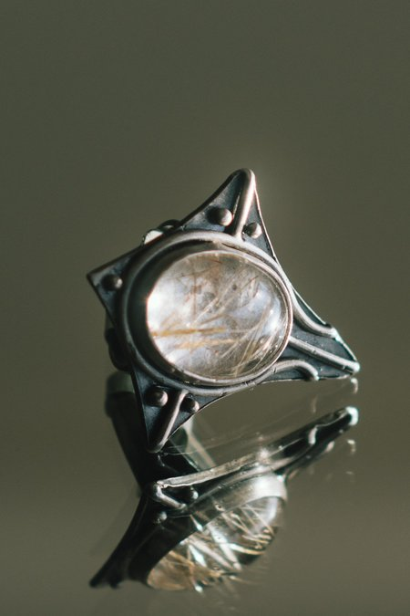 Acid Queen Jewelry Voyager Rutilated Quartz Ring - sterling silver