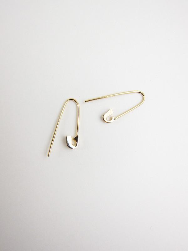 Lauren Klassen Tiny Safety Pin Hook Earrings, 14k gold