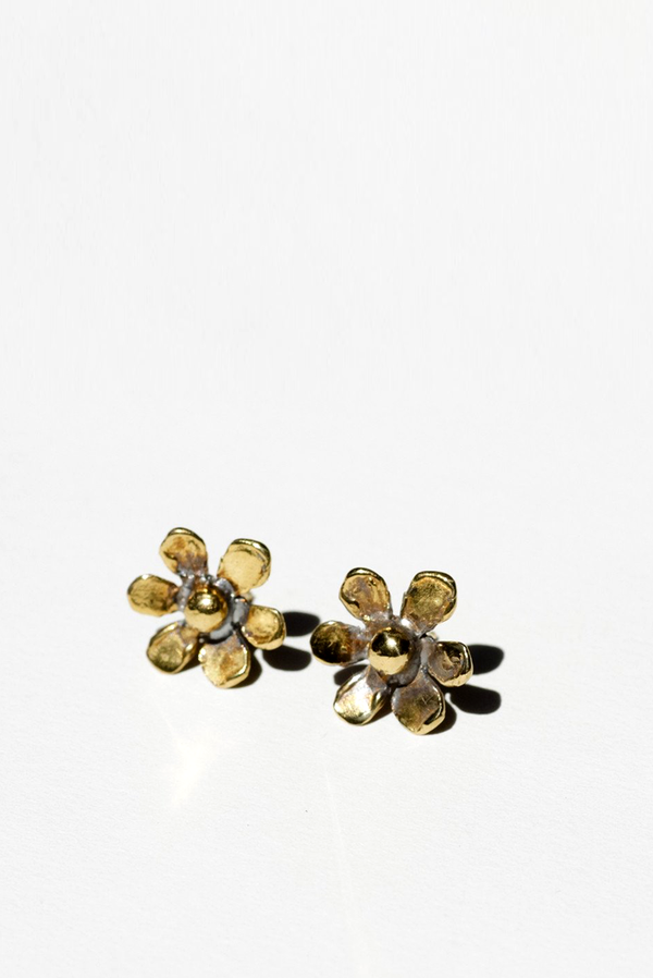 Mondo Mondo 18k Gold Plated Daisy Stud Earrings