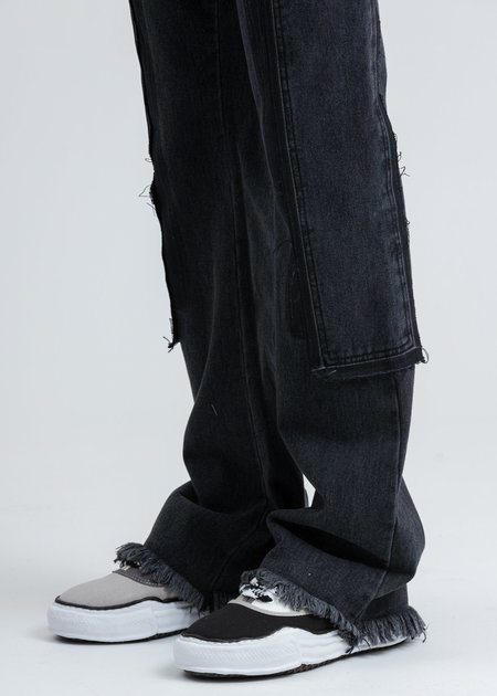 we11done Washed Patch Work Jeans - Black