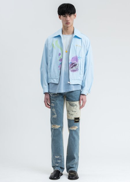 we11done Damage Washed Patch Work Denim Jeans - Blue