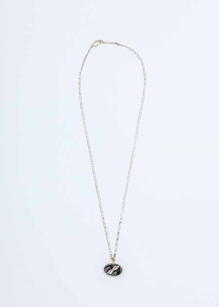we11done Oval Logo Necklace - Gold/Black