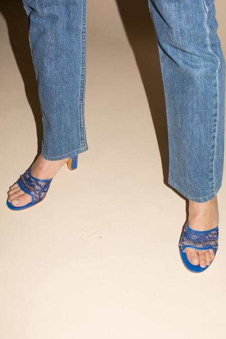 Maryam Nassir Zadeh Paloma Slide - Cobalt Lace