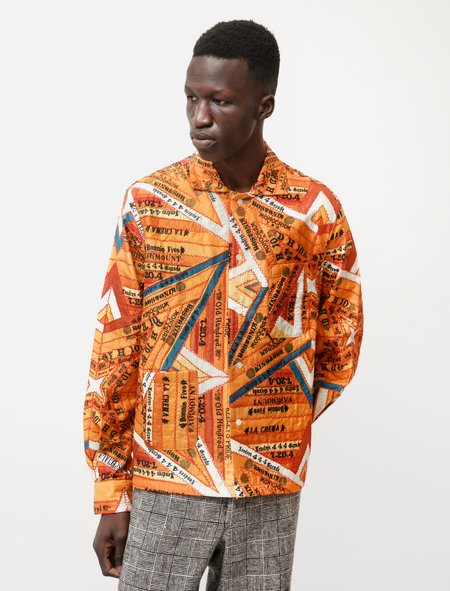 Bode Multi Cigar Silk Patchwork Shirt