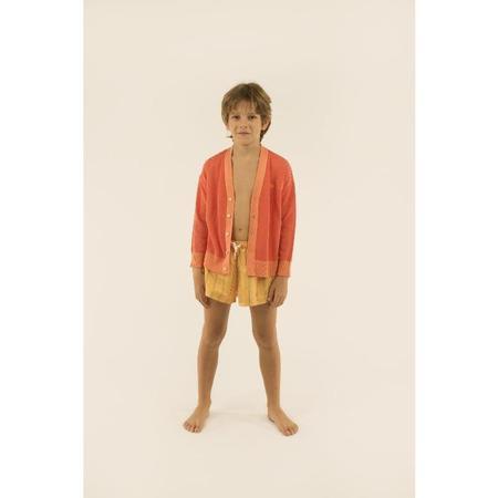 Kids tinycottons tiny stripes cardigan - red/light papaya