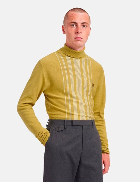 Fred Perry Re-Issue Stripe Knitted Roll Neck - Gold