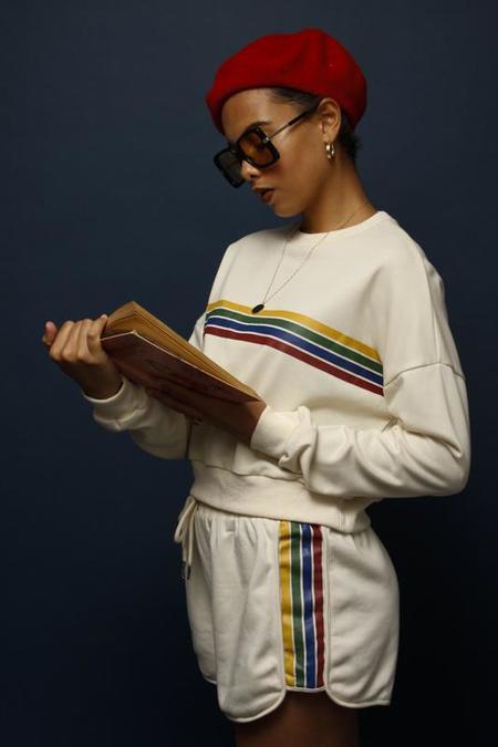 Papermoon Farrah 70's French Terry Rainbow Stripe Short