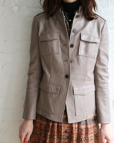 [pre-loved] Tory Burch Leather Military Jacket - Sparrow Grey