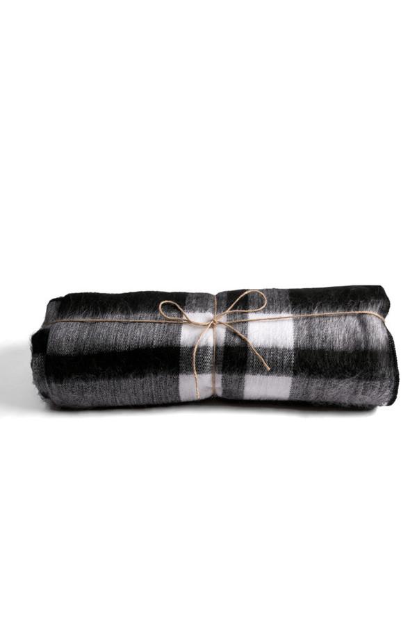 Carvieira Alpaca Blanket Black Charcoal Plaid