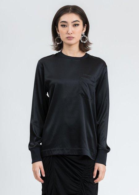 Helmut Lang Logo Satin Long Sleeve - Black