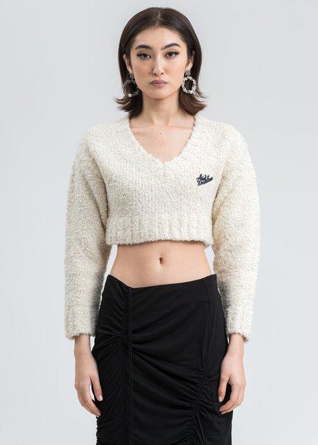 Ann Andelman Logo Crop Sweater - Cream