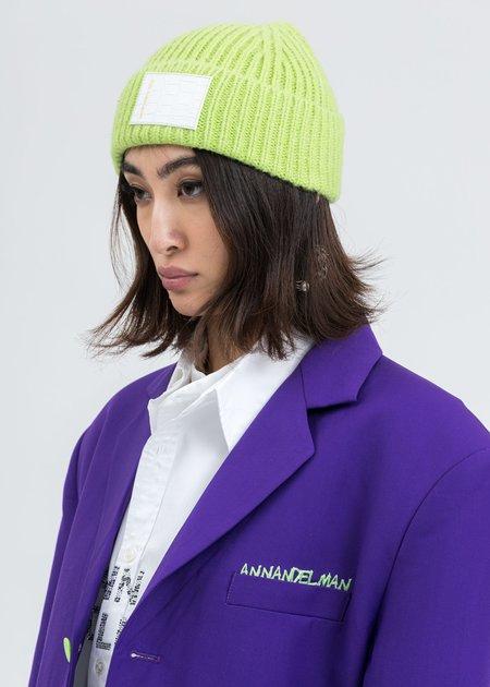 Ann Andelman Leather Pad Beanie -  Green
