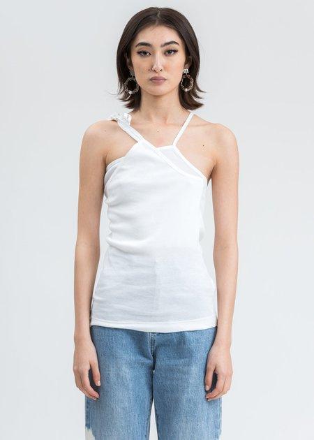 Helmut Lang Asymmetric Rib Slip Tank Top - White