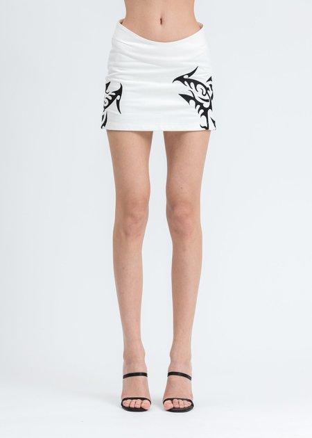 MISBHV Hardcore Trinity Denim Skirt - White