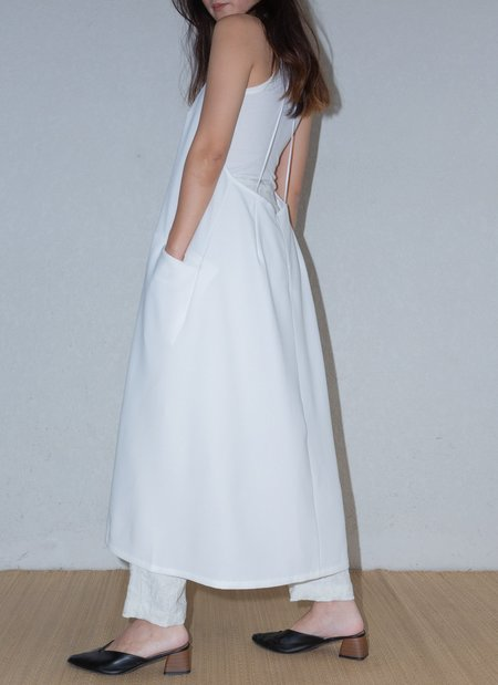 KAAREM Weed Halter Pocket Dress w/ Removable Straps - White