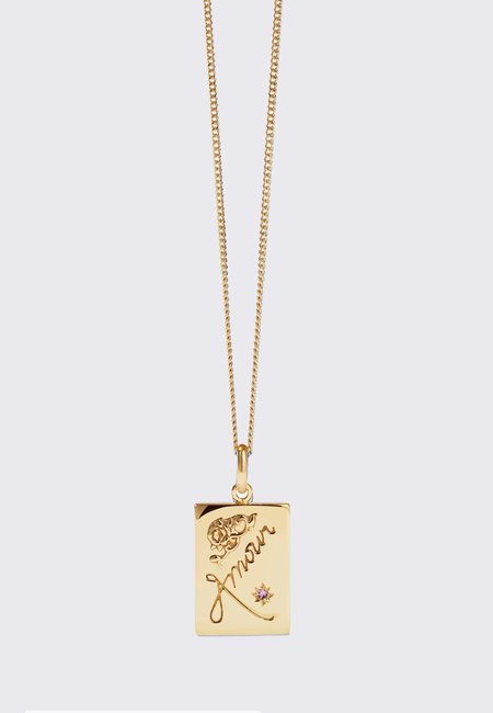 Meadowlark Amour Necklace - gold/pink sapphire