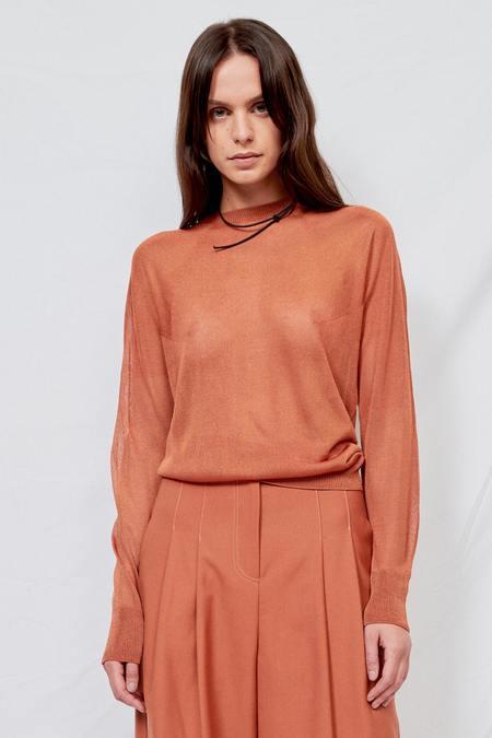 LVIR Viscose Knit Long Sleeve Top - Orange