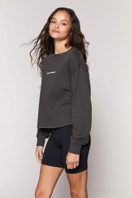 Spiritual Gangster Positive Vibes Mazzy Crop Sweatshirt - Vintage Black