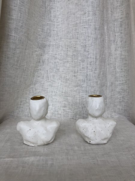Groh Artifact Lucerna Candlestick Holders - White