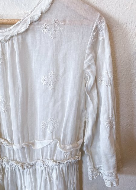 Vintage Victorian Cotton Dress - White