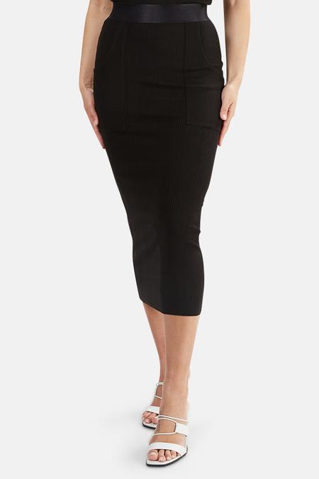 The Range Ribbed Utility Midi Skirt - Black