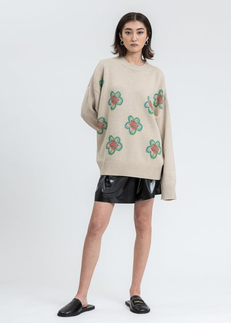 we11done WD Printed Knit Sweater - beige