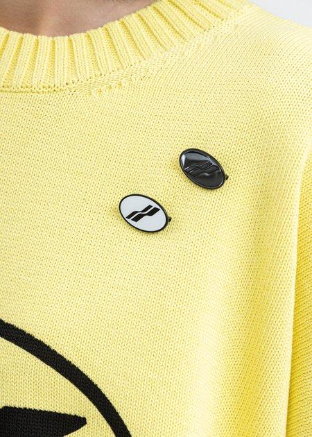 we11done Oval Logo Brooch Set - Black