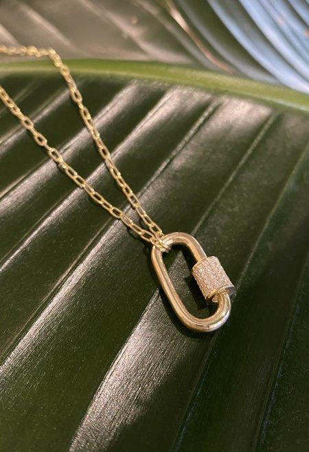 SS JEWELRY Pavé Crystal Lock Necklace - 14K Gold Vermeil