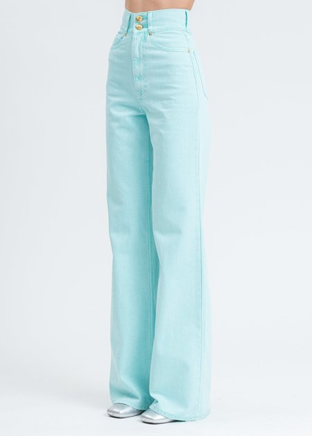we11done High Waist Long Wide Denim Pants - Mint