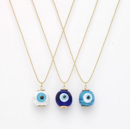 OIYA Evil Eye Pendant Necklace - White