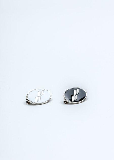 we11done Oval Logo Brooch Set - Silver