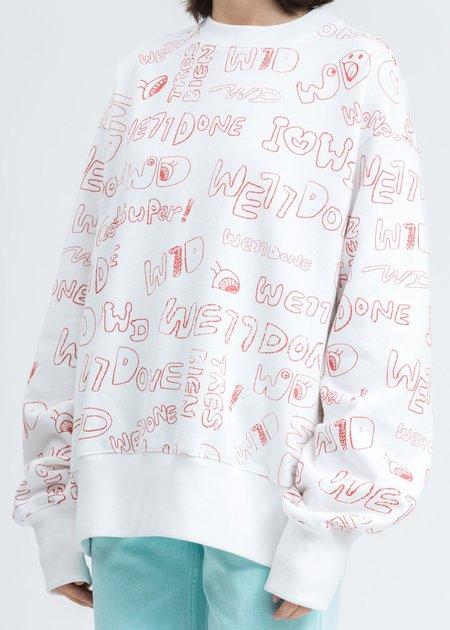 we11done Graffiti Graphic Sweatshirt - White