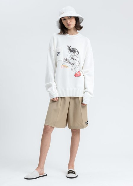 we11done Printed Knit Pocket Sweater - white