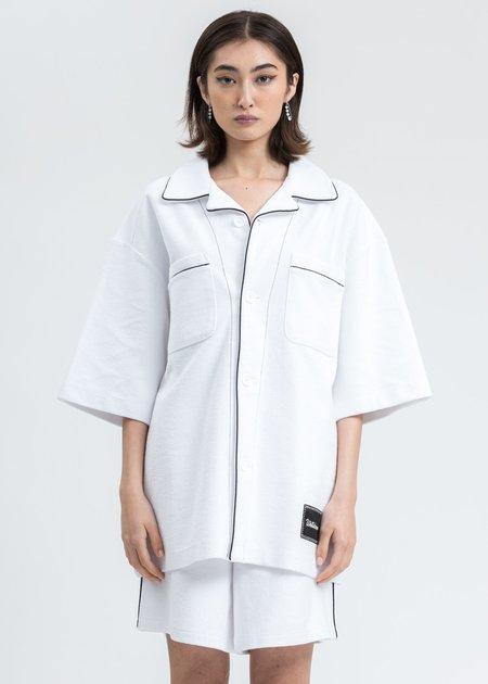 we11done Zurry Short Sleeve Pyjama Top - white