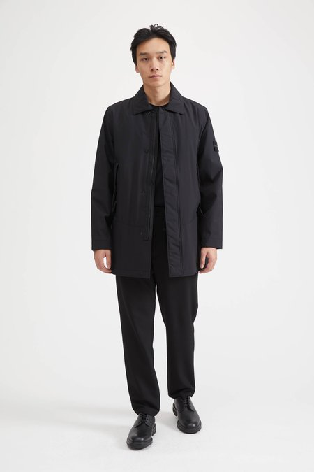 Stone Island Soft Shell-R With Primaloft Trench Coat - Black