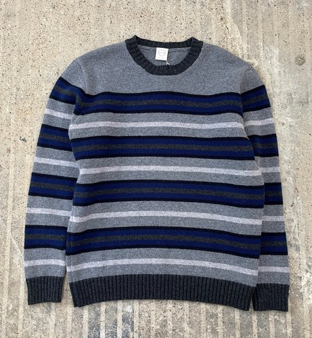 Country of Origin Multi-Stripe Crew Sweater - Gray/Blue