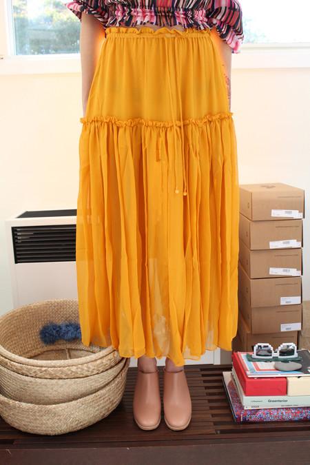 Apiece Apart Dulce Accordian Midi Skirt Sunflower