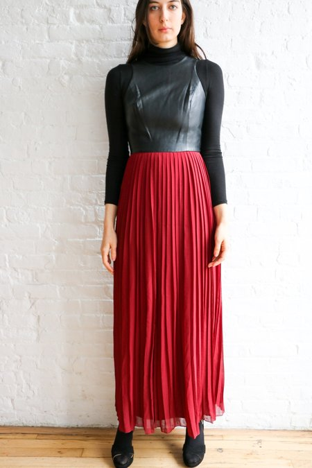 [pre-loved] SABINE Faux Leather Pleated Maxi Dress - Black/Red