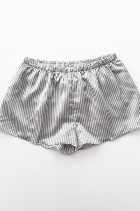 Salua Lingerie Striped Cotton-Silk Shorties