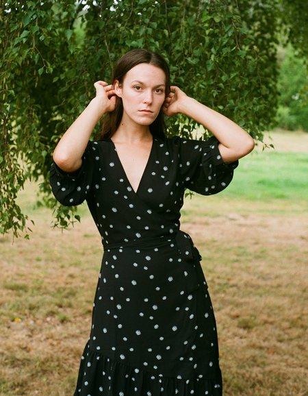 Just Female Jessie Wrap Dress - Blue Daisy Print
