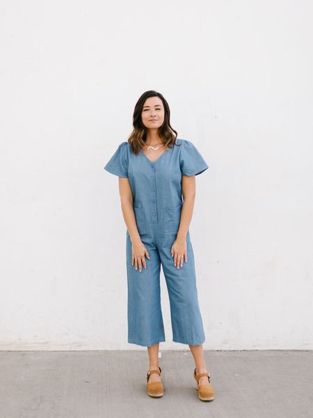 Hayden LA Chambray Wide Leg Jumpsuit - blue