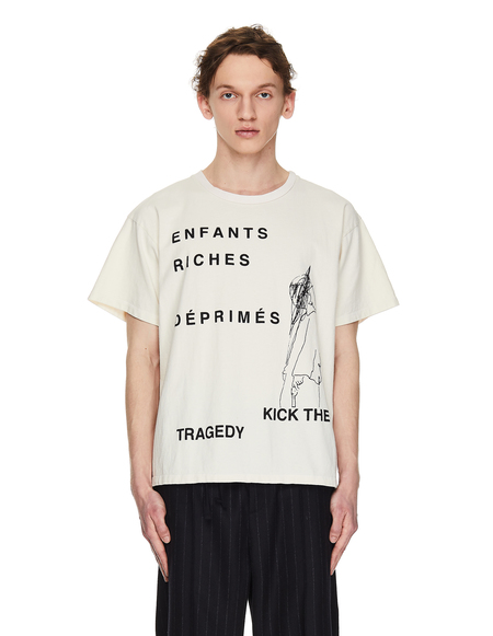 Enfants Riches Deprimes Ivory Kick The Tragedy T-Shirt - Beige