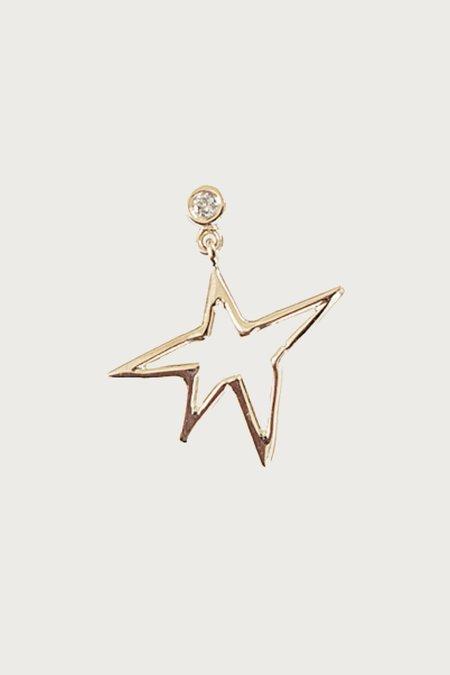 Xiao Wang Dot Dot Single Stud Dangle Hand Drawn Star Earring - Gold